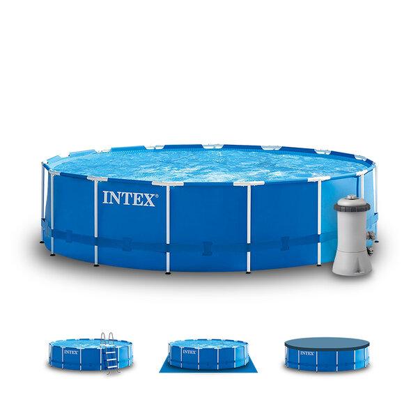Сглобяем басейн с тръбна конструкция и филтърна помпа Intex Metal Frame, Ø457 x 84 см – комплект с подложка, покривало и стълба