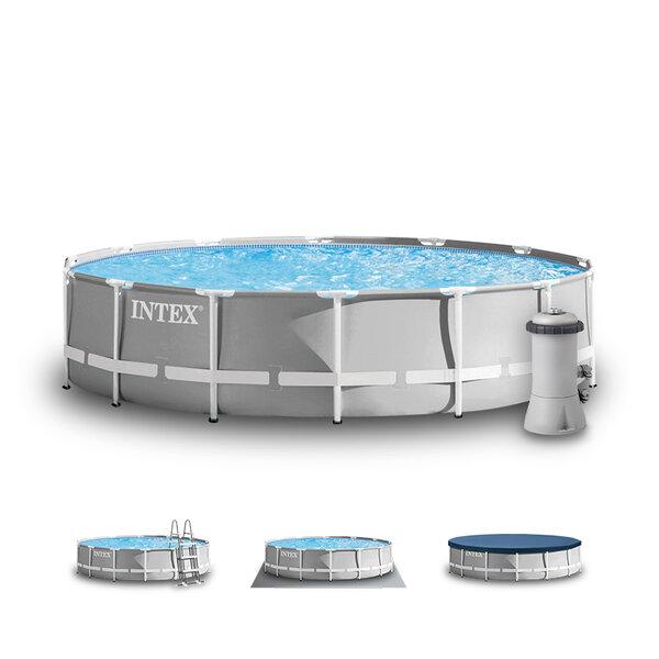 Сглобяем басейн с тръбна конструкция и филтърна помпа Intex Prism Frame, Ø427 x 107 см – комплект с подложка, покривало и стълба