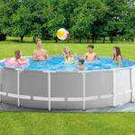 Сглобяем басейн с тръбна конструкция и филтърна помпа Intex Prism Frame, Ø457 x 122 см – комплект с подложка, покривало и стълба