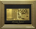 Златна банкнота 500 Евро на черен фон в рамка под стъклено покритие - Реплика