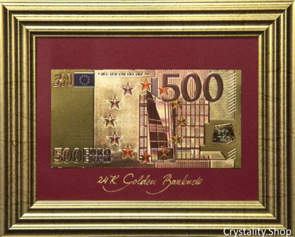Златна банкнота 500 Евро (цветна) на бордо фон в дървена рамка под стъклено покритие - Реплика