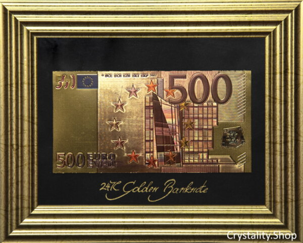 Златна банкнота 500 Евро (цветна) на черен фон в рамка под стъклено покритие - Реплика