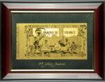 Златна банкнота 5000 Френски Франка на зелен фон в рамка под стъклено покритие - Реплика