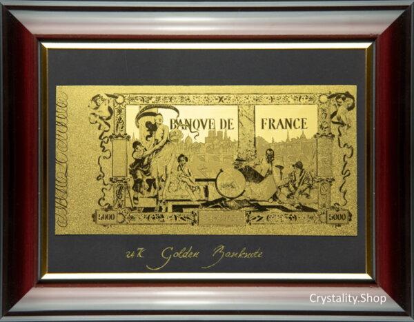 Златна банкнота 5000 Френски Франка на черен фон в рамка под стъклено покритие - Реплика