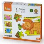 4 цветни дървени пъзела - Диви животни, Viga Toys