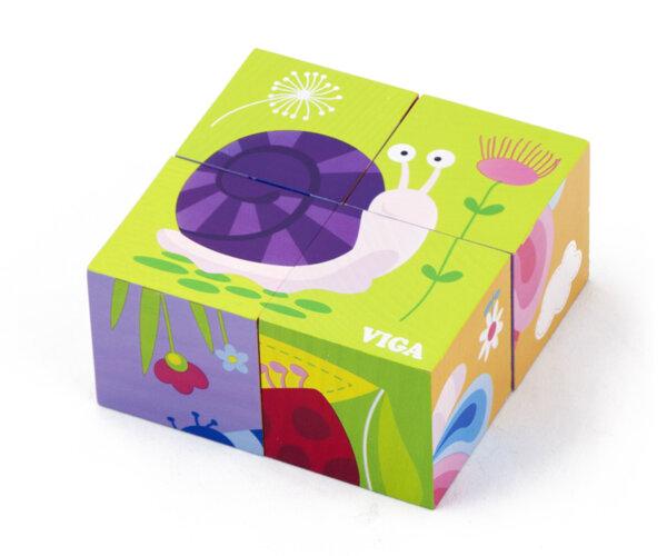 Дървени кубчета Насекоми, Viga Toys