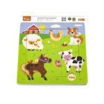 Пъзел 9 елемента с подложка - животни от фермата , Viga toys