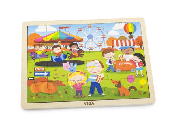 Дървен пъзел с 24 части - Есен, Viga toys