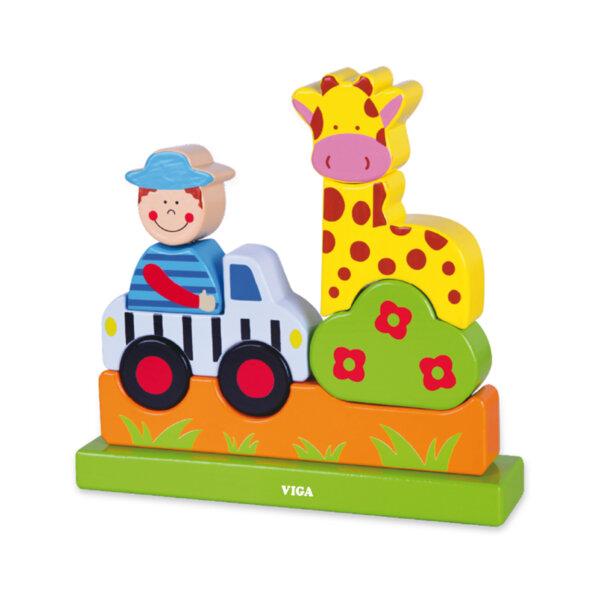 Дървен магнитен пъзел - зоологическа градина, Viga Toys