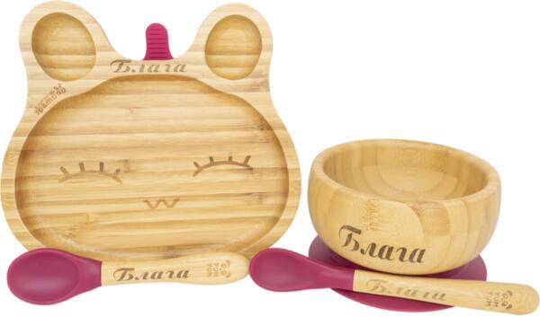 Персонализиран Комплект от бамбукова купичка и чинийка Заек с вакуумно дъно от Yum Yum bamboo