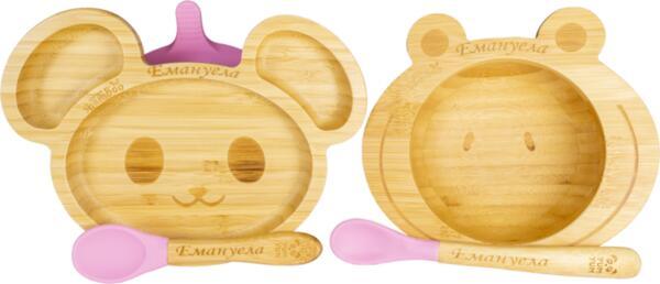 Персонализиран бамбуков комплект за бебе   Купичка Жаба и чинийка Мишка с вакуумно дъно от Yum Yum bamboo