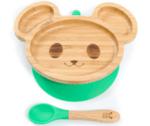 Персонализирана Бамбукова чинийка с вакуумно дъно - Мишка от Yum Yum Bamboo
