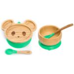 Комплект от бамбукова купичка и чинийка Мишка с вакуумно дъно от Yum Yum bamboo
