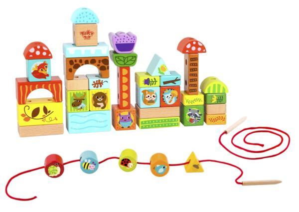 Дървен конструктор с нанизване 40 части, Tooky toy