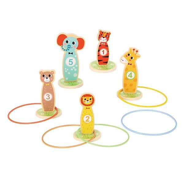 Дървена игра за мятане на  рингове животните, Tooky toy