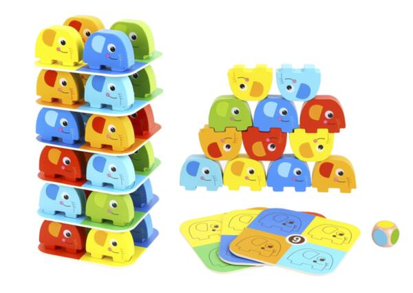 Дървена цветна дженга със зарче Слончета , Tooky Toy