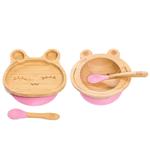 Комплект от бамбукова купичка жаба и чинийка Заек с вакуумно дъно от Yum Yum bamboo