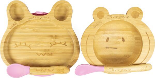 Персонализиран бамбуков комплект за бебе   Купичка Жаба и чинийка Заек с вакуумно дъно от Yum Yum bamboo
