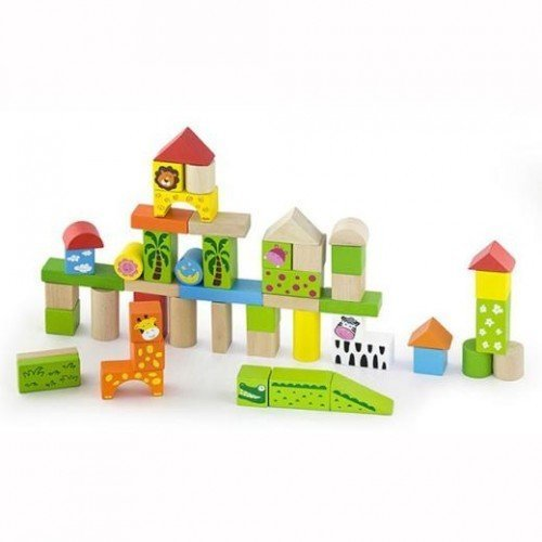 Строителни цветни блокчета 50 бр - Животни