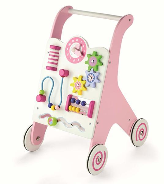 Проходилка - Детски дървен уокър в розов цвят