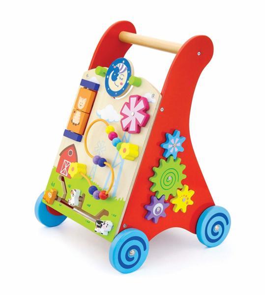 Проходилка - Детски дървен уокър в червен цвят, Viga toys