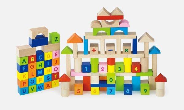 100 блокчета с букви и цифри, Viga toys
