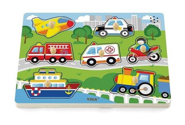 Дървен звуков пъзел с транспортни средства, Viga toys