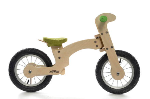 """Дървено колело за баланс модел """" Голямо Лили"""" - зелено"""