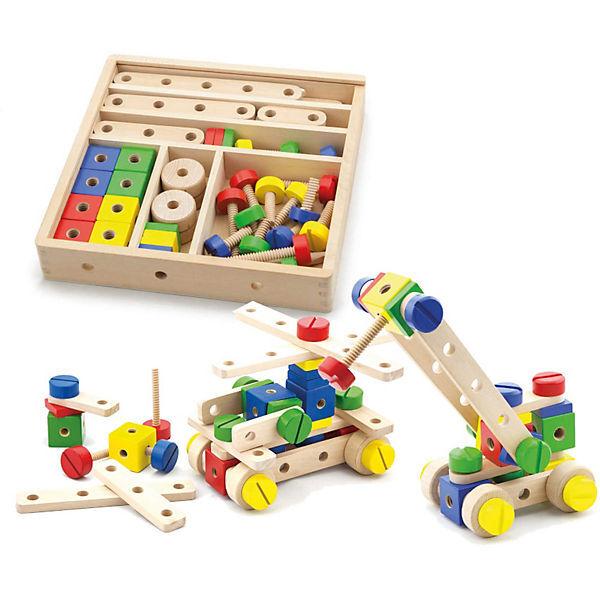 Дървен конструктор с гайки, Viga toys