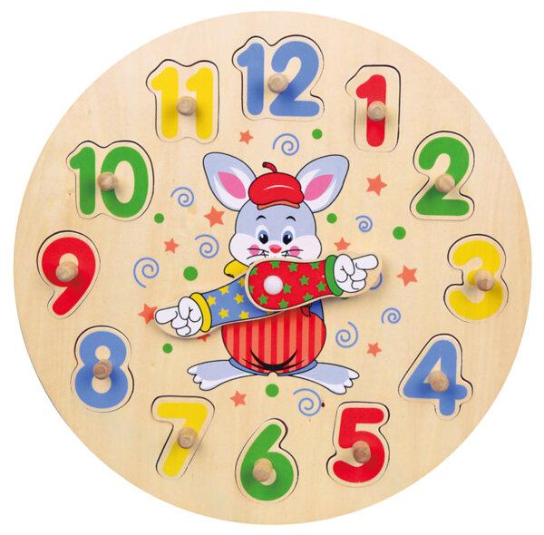 Дървен часовник - пъзел с числа, Viga toys