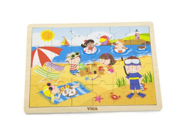 Дървен пъзел с 24 части - Лято, Viga toys