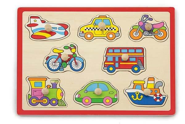 Дървен пъзел с дръжки - Транспорт, Viga toys