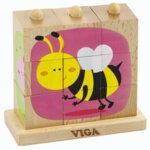Дървен пъзел от кубчета - Насекоми