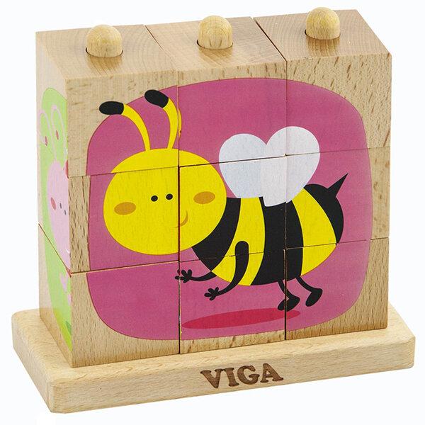 Дървен пъзел от кубчета - Насекоми, Viga toys
