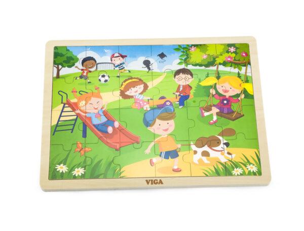 Дървен пъзел с 24 части - Пролет, Viga toys