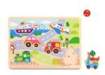Дървен звуков пъзел - превозните средства, Tooky toy