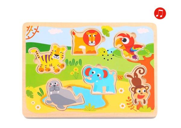 Дървен звуков пъзел -  животни, Tooky toy