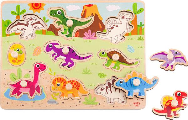 Дървен пъзел с дръжки динозаврите, Tooky toy