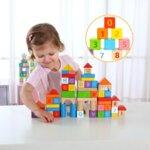 Дървен конструктор от 70 части с букви и цифри, Tooky toy