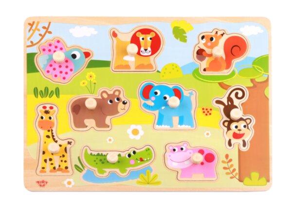 Дървен пъзел с дръжки, диви животни, Tooky toy