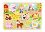 Дървен пъзел с дръжки животните от фермата, Tooky toy