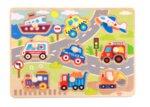 Дървен пъзел с дръжки превозни средства, Tooky toy