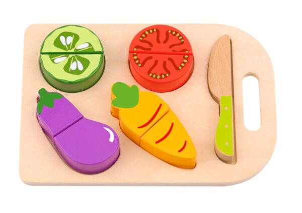 Дървени зеленчуци за рязане, с дъска за рязане, Tooky toy
