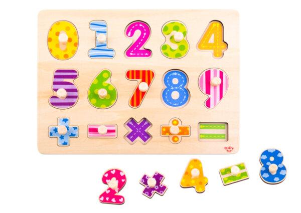 Дървен пъзел с дръжки цифрите, Tooky toy