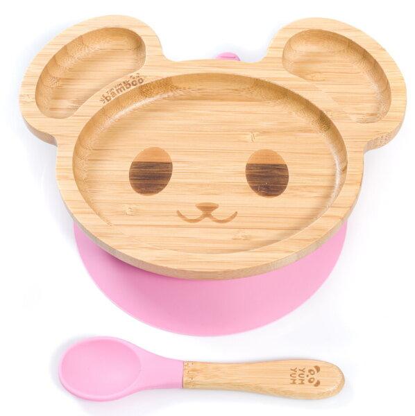 Бамбукова чинийка с вакуумно дъно - мишка от Yum Yum Bamboo