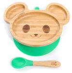 Бамбукова чинийка с вендуза - мишка от Yum Yum Bamboo