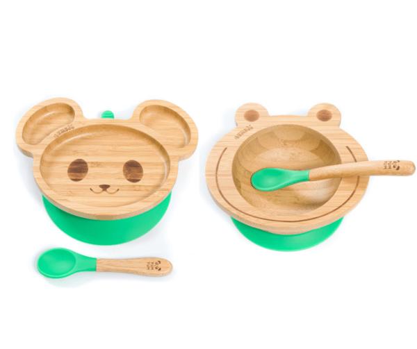 Комплект от бамбукова купичка и чинийка с вакуумно дъно от Yum Yum Bamboo