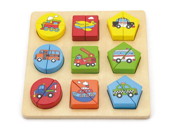 Дървен пъзел с геометрични фигури на превозни средства, Viga toys