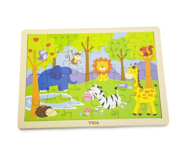 Дървен пъзел 24 елемента-сафари от Viga toys