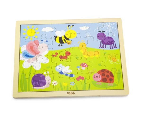 Дървен пъзел 24 елемента - насекоми от Viga toys
